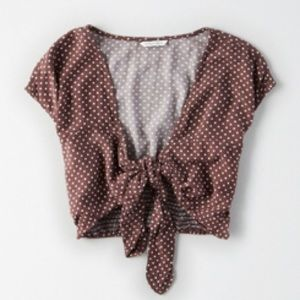 Tie Front Cropped Top